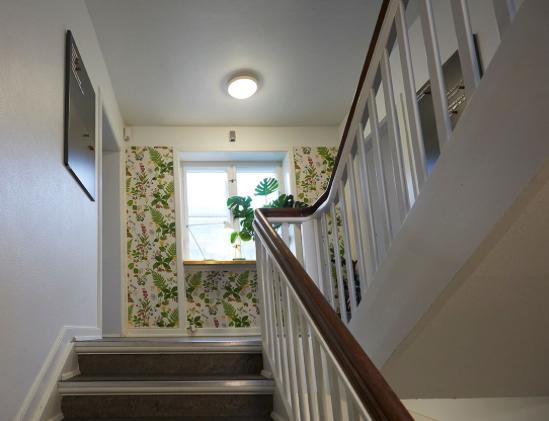 Tapetet sætter stemningen og stilen i Kontoruniverset. Tapetet byder velkommen og skaber liv på trappen.